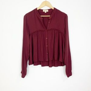 cloth + stone Maroon Button Down Top Size Small